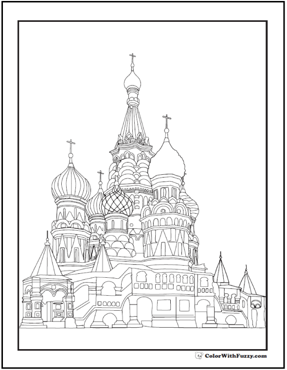 Ornate cathedral coloring page