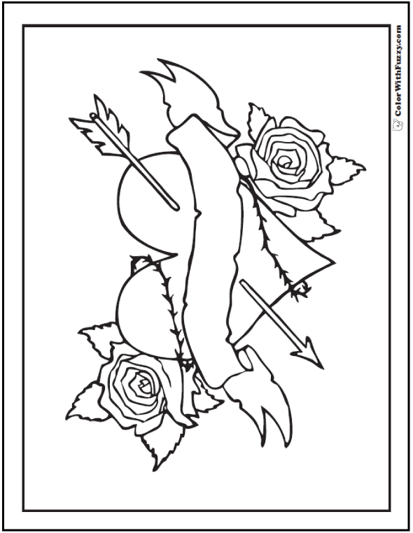 Roses and Heart Coloring Picture - Arrow, banner, thorns.