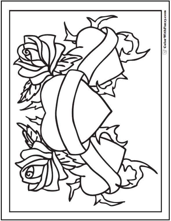 Hearts And Roses Coloring Sheet