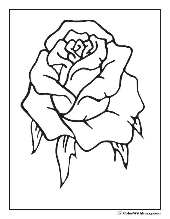 Rose Bud Coloring - Single Rosebud
