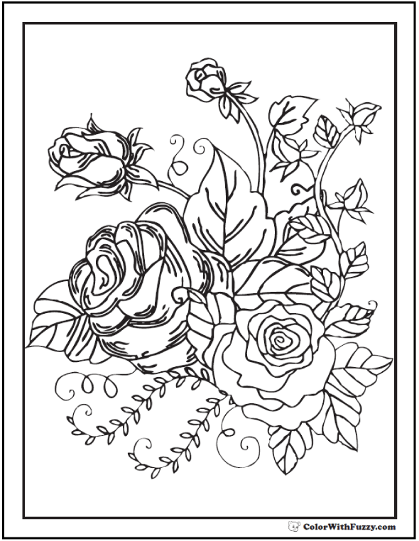 Rose Buds In a Bunch Coloring Sheets