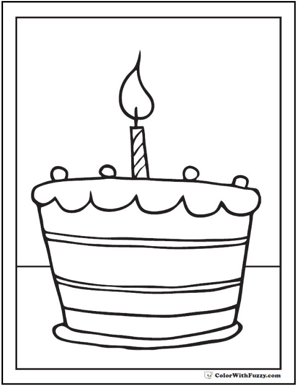 1st Birthday Cake First Page To Color