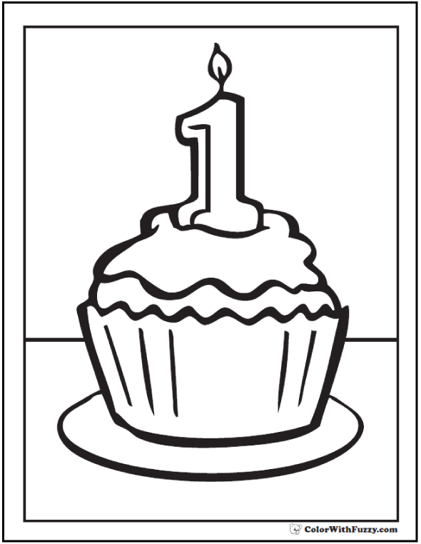 1st Birthday Cupcake Coloring Pages