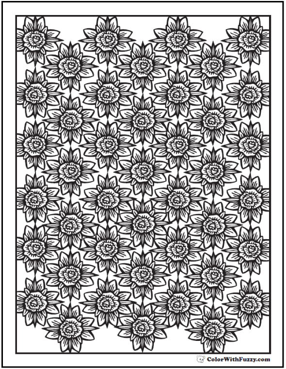 Coloring Pages Rose And Cross Pattern