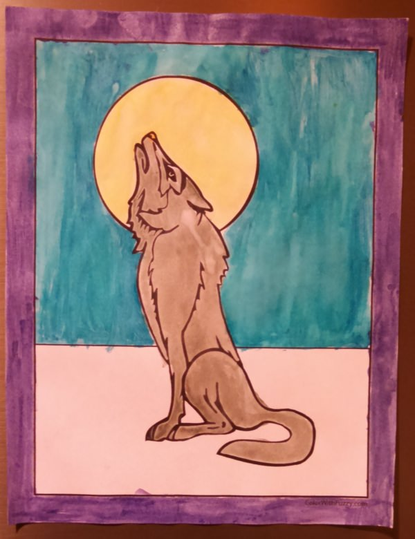 Fuzzy has exciting wolf coloring pages!