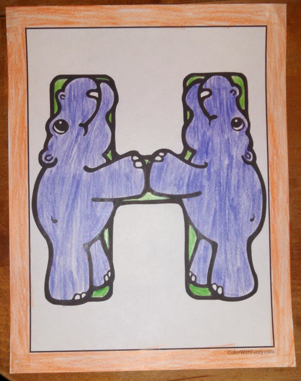 H Is For Hippo Coloring Sheets!