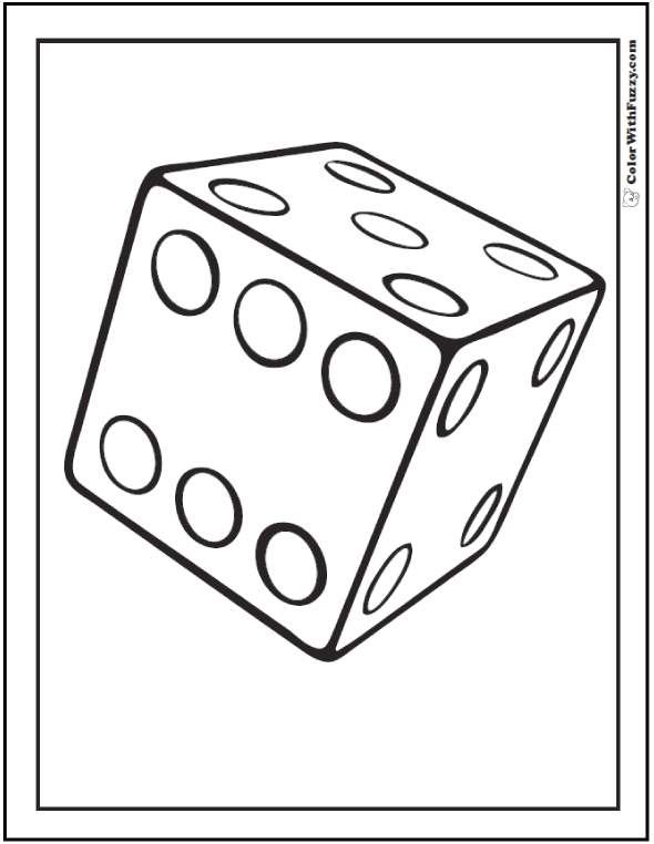 3D Dice Coloring Page