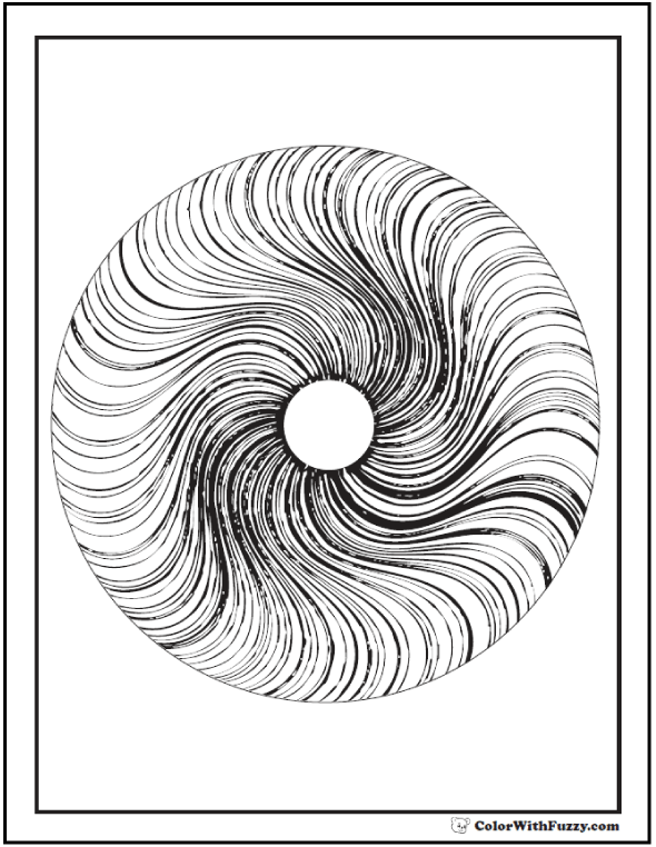 3D Geometric Coloring Page: Circle with radiant swirls.
