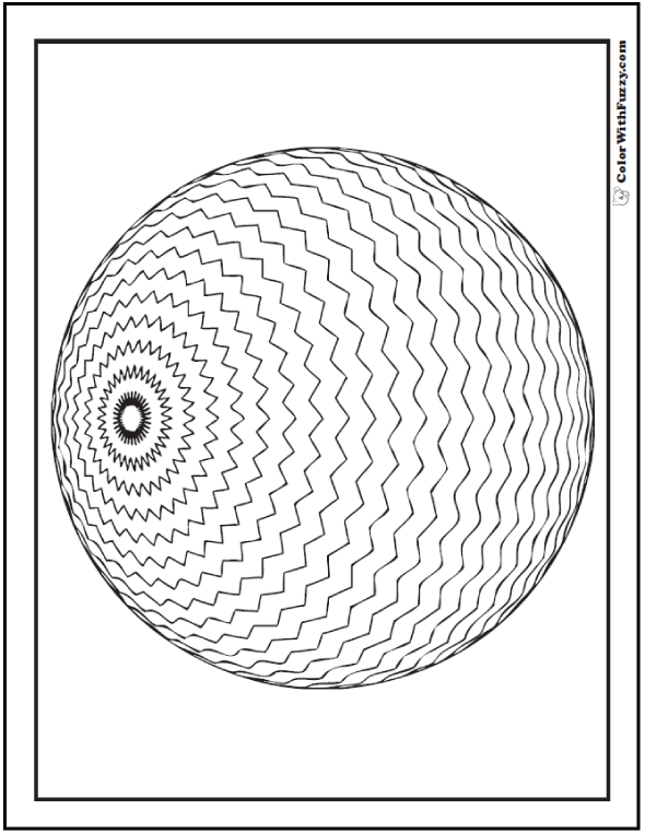 3D Geometric Pattern Coloring Page: Sphere with zigzag circles.