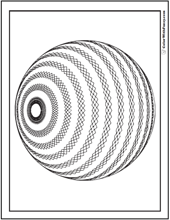 3D Geometric Pattern Coloring Pages: Diamond patterned strips on a sphere.