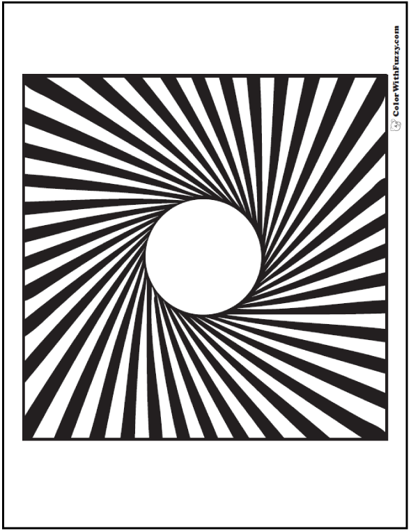 3D Illusion Geometric Coloring Pages: Circle spins to square with bold radial lines.