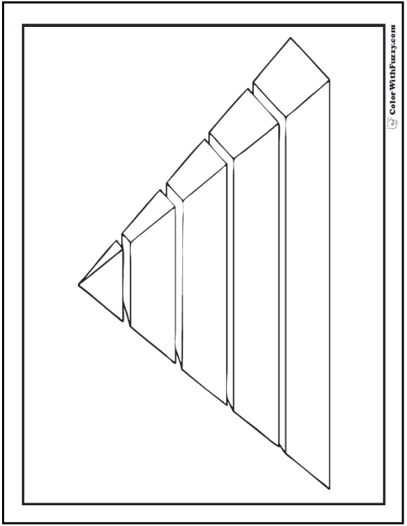Sliced 3D Pyramid Coloring Sheet