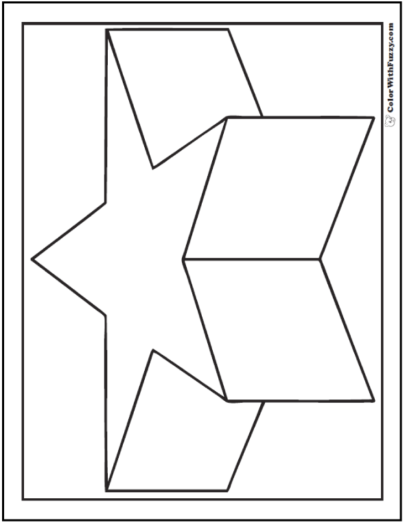 Coloring pages 3d shapes : Have many more flower heart and star pages here