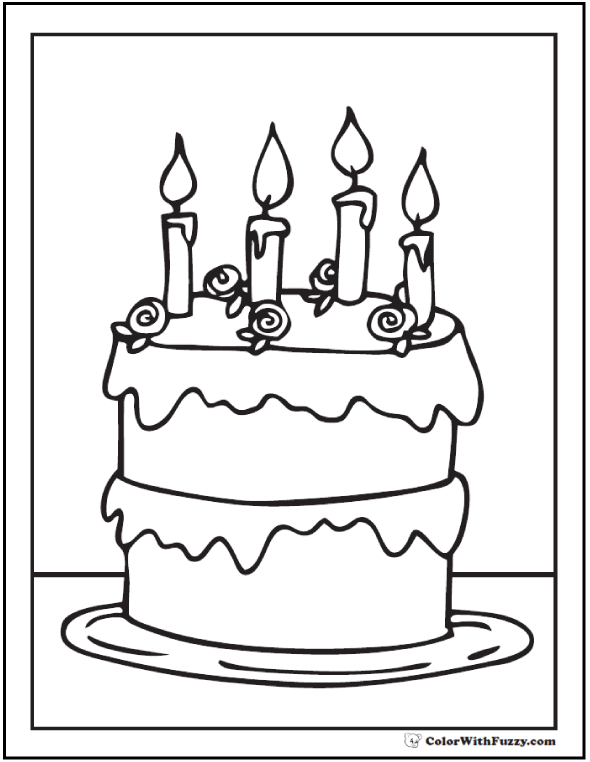 4th Birthday Cake Coloring Printable