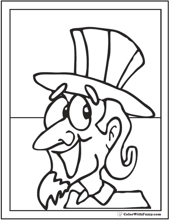 Fourth of July coloring pages. Uncle Sam in top hat.