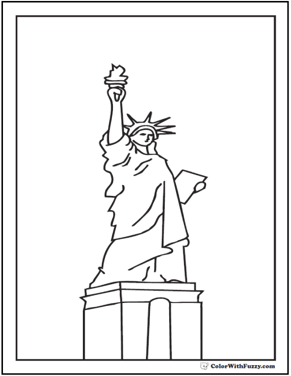 Statue of Liberty Fourth of July coloring page.