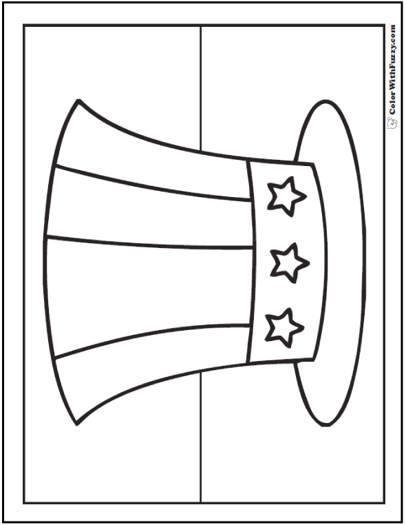Stars and stripes hat Fourth of July coloring page.