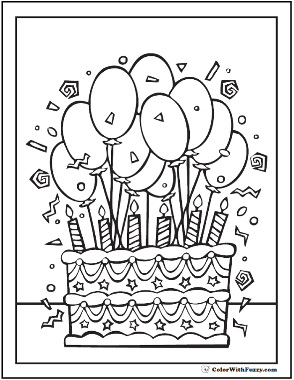 6th birthday cake coloring - Birthday Cake Coloring Pages