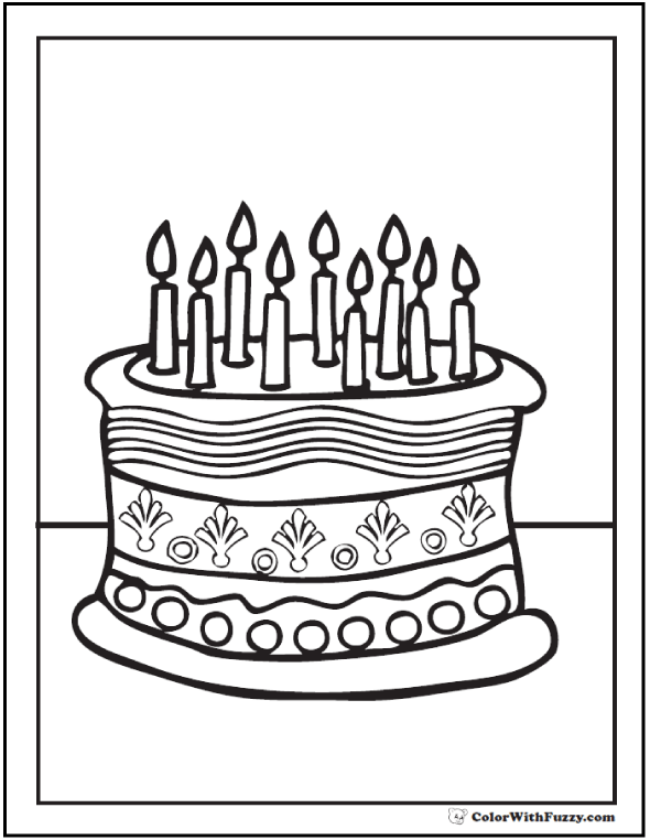 9th Birthday Cake Coloring Sheet