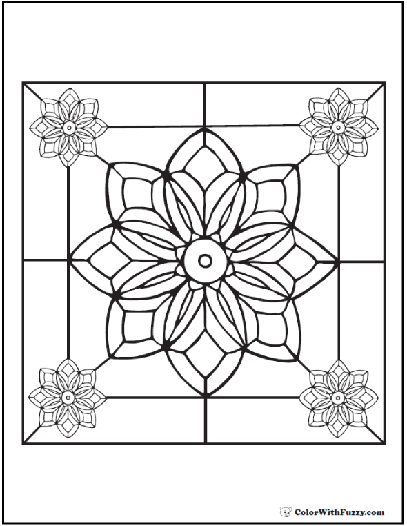 Adult Coloring Pages: Beveled Glass Flower