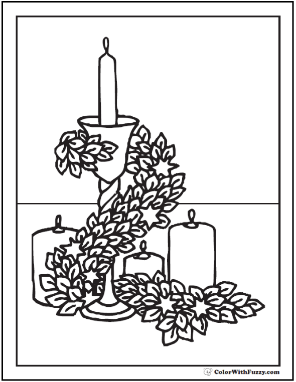 Adult Coloring Page: Candles And Garland