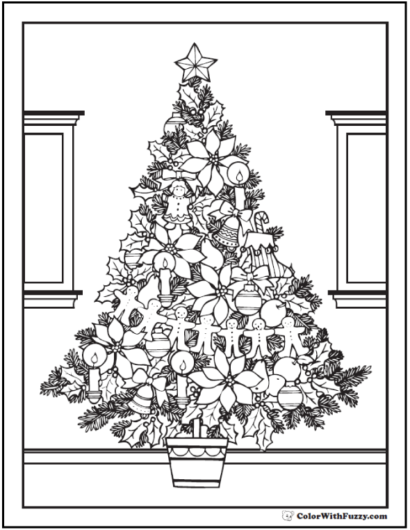 Adult Merry Christmas Tree Coloring Page