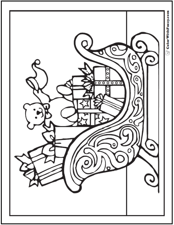 christmas coloring book page for adults sleigh and gifts