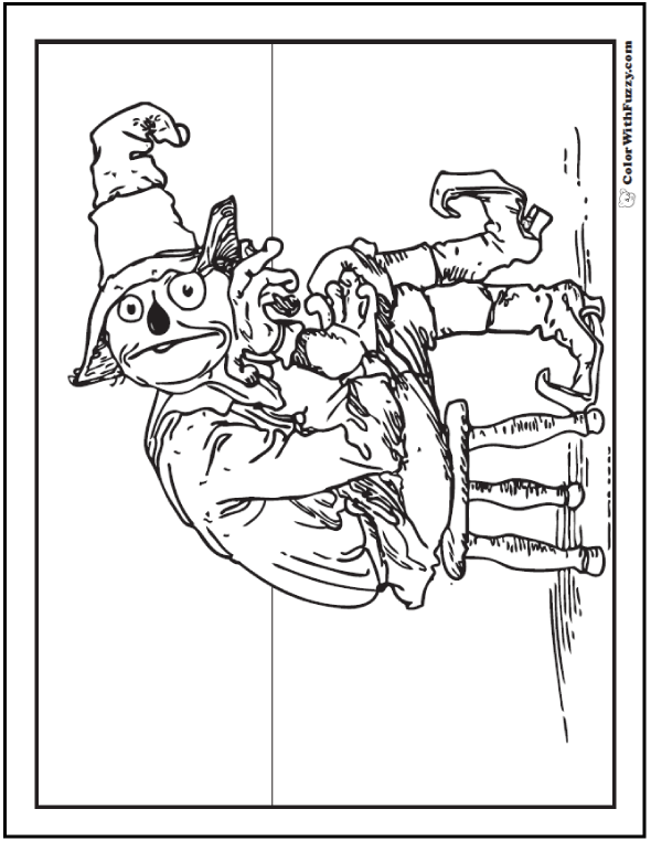 Whimsical Adult Halloween Coloring Page: Scarecrow Thinking