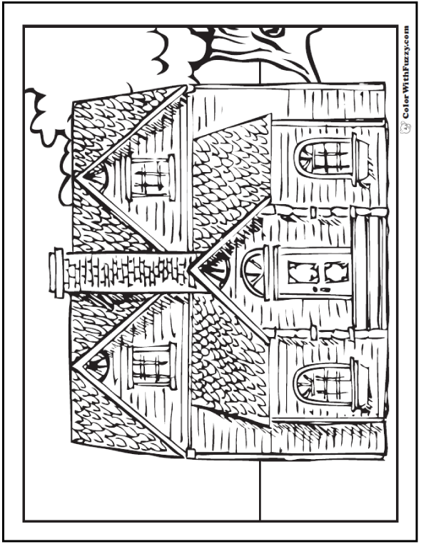 Adult Coloring Page: One of several old houses and buildings.