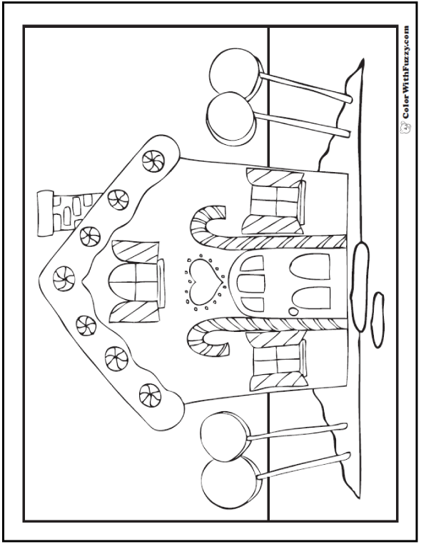 Adult Coloring Page: Gingerbread House With Candy
