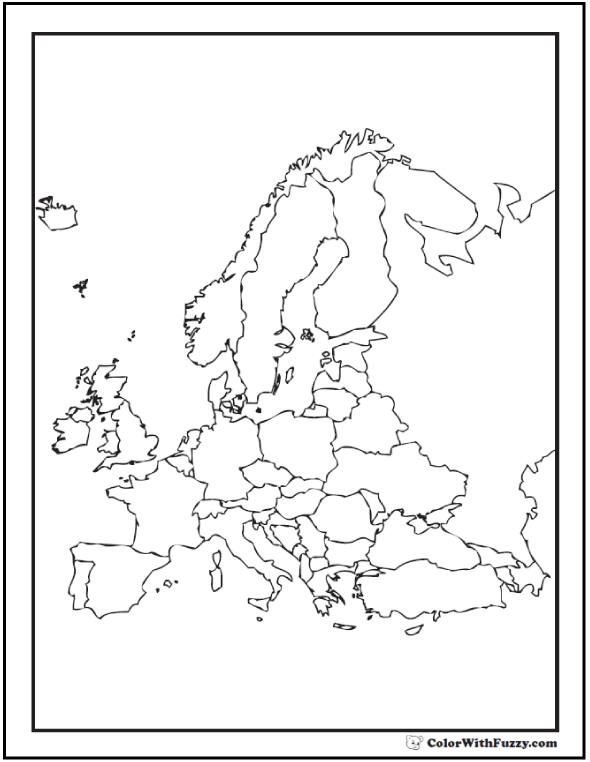 Adult Coloring Page: Map of Europe