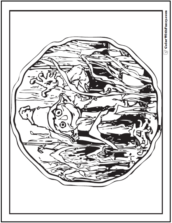 Adult Coloring Pages: Scarecrow in the corn.