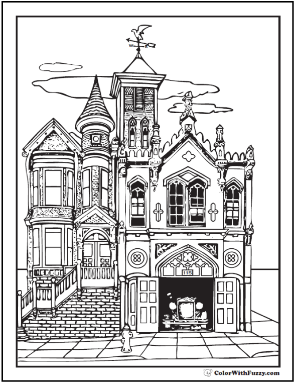 Old House Adult Coloring Pages Antique Firehouse