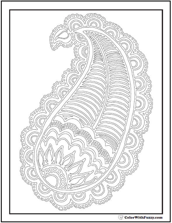 Adult Coloring Sheet: Large Paisley