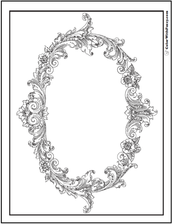 Floral Frame - Adult Coloring Picture