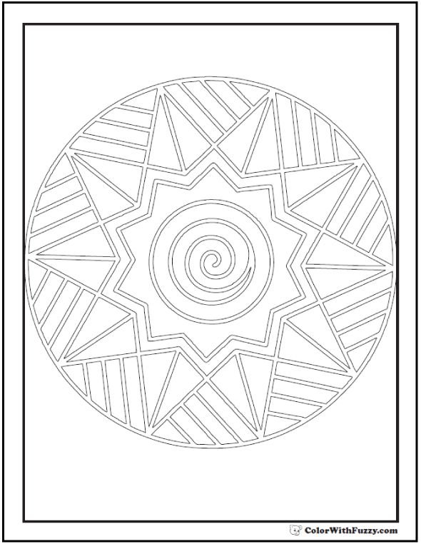 Adult Coloring Sheet: Complex Sunburst Outline