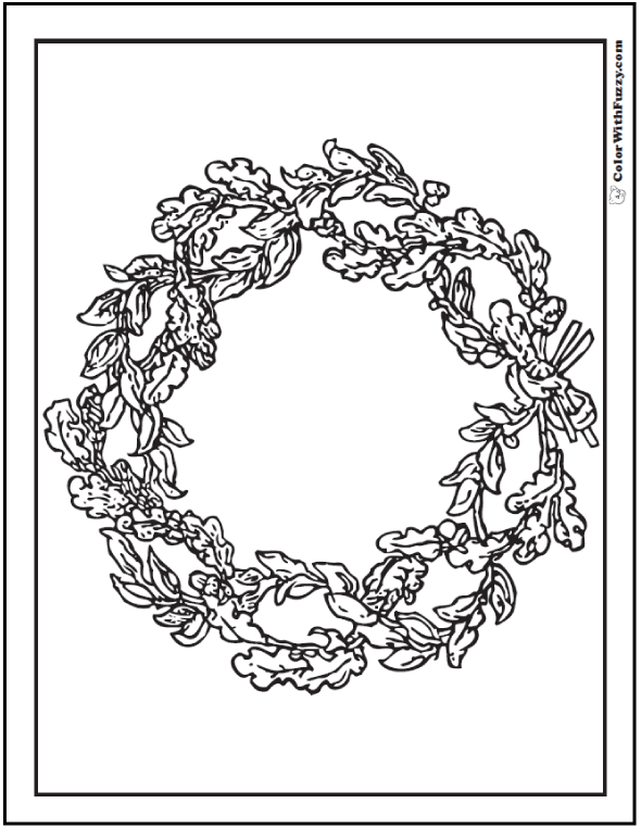 Adult Coloring Page: Botanical Christmas Wreath