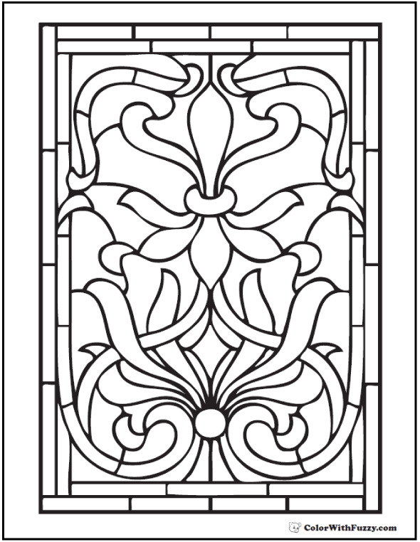 adult coloring pages stained glass fleur de lys