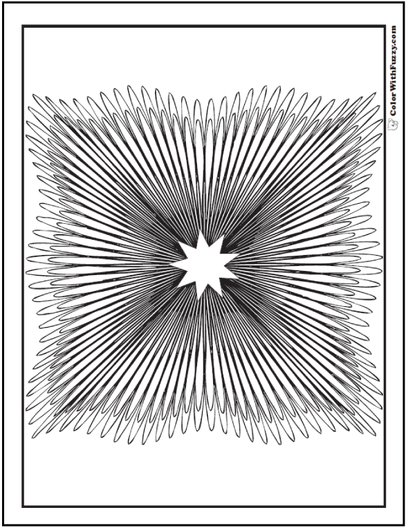 Adult Geometric Coloring Page Star In Square