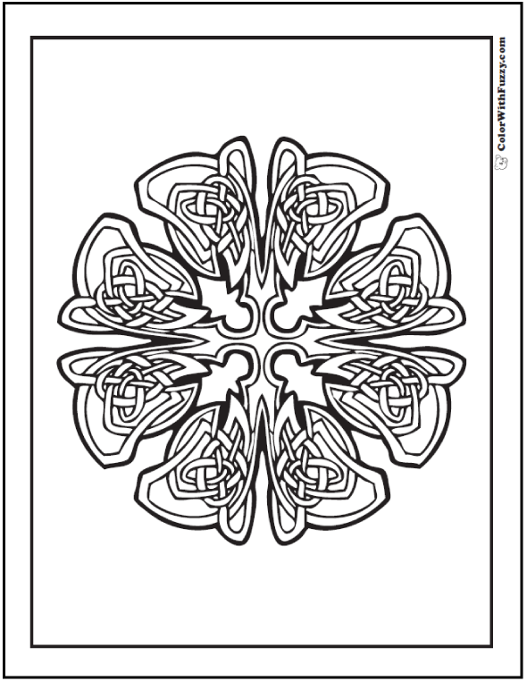 Fuzzy has some Advanced Celtic Coloring Pages. This one's like a cross hair gone spastic!