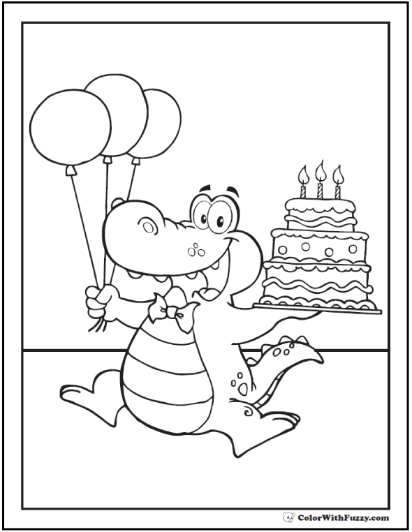 Alligator Birthday Coloring Page - Third Birthday, Balloons, Three Tier Cake
