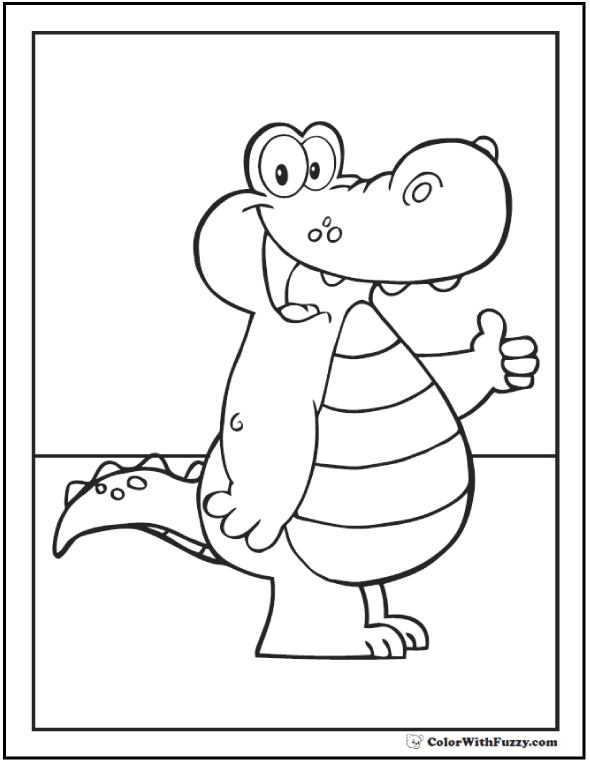 Cartoon alligator coloring pages for zoo trips!
