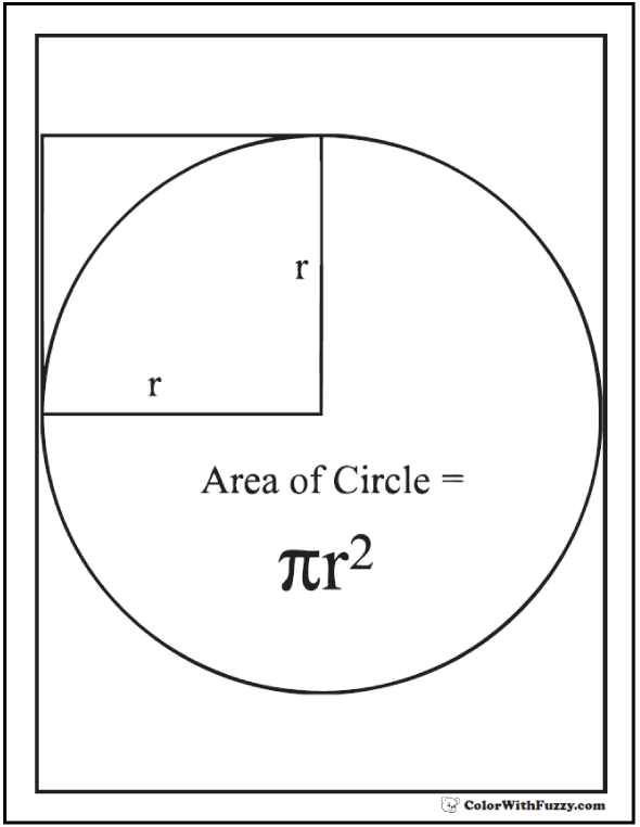 Area Of A Circle Page To Color