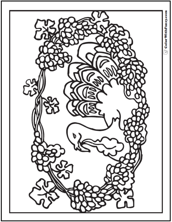 Autumn Harvest Thanksgiving Coloring Page: Turkey, Grapes and Grape Vines In A Wreath