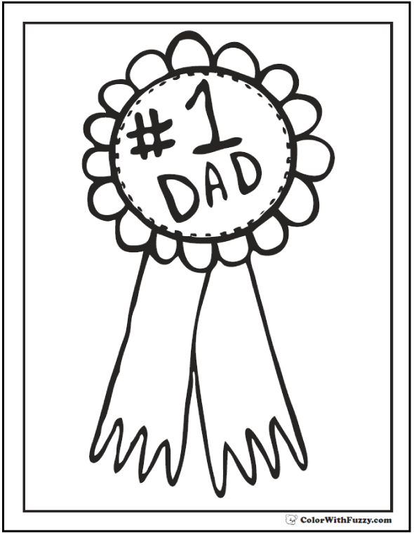 Award Father's Day coloring page. Number One Dad.  #FathersDayColoringPages and #KidsColoringPages at ColorWithFuzzy.com