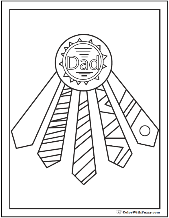 Father's Day award coloring page with tie ribbons.  #FathersDayColoringPages and #KidsColoringPages at ColorWithFuzzy.com