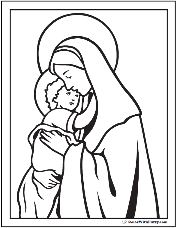 Christmas Coloring Pictures: Baby Jesus And Mary - Madonna and Child.