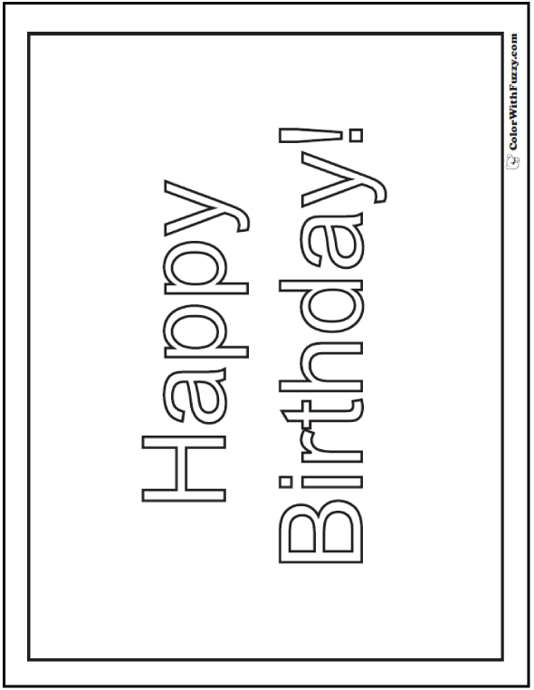 Happy Birthday Banner Coloring Page - Color a Birthday Poster!