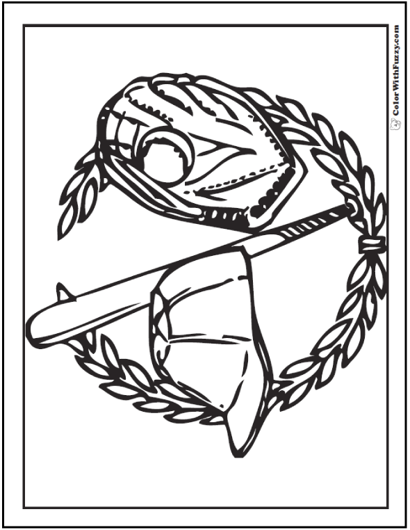 Baseball Wreath Coloring Sheet