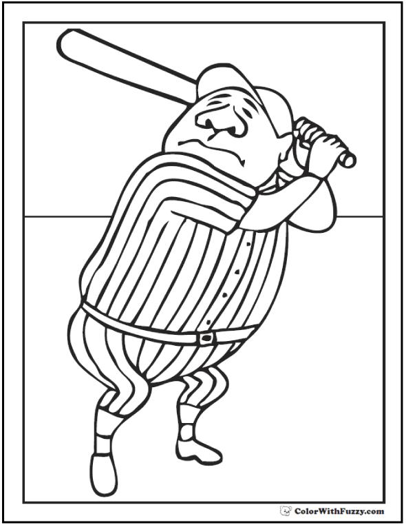 batting baseball player coloring batting babe ruth batting page